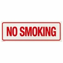 "12"" x 4"" No Smoking Sign - Adhesive Vinyl - Red on White"