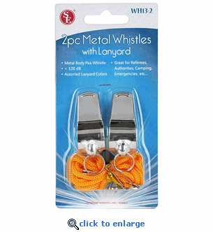 2-Pack Metal Emergency Alert Whistles with Lanyard