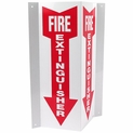 "3D Angle Rigid Plastic Fire Extinguisher Arrow Sign - 4"" x 12"""