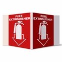 "3D Angle Rigid Plastic Fire Extinguisher Arrow Sign Pictogram - 5"" x 6"""