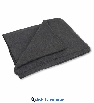 4 lb. Gray Emergency Relief Wool Blanket 64'' x 84'' - 80% Wool