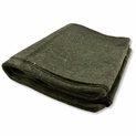 4 lb. Olive Green Emergency Relief Wool Blanket 64'' x 84'' - 80% Wool