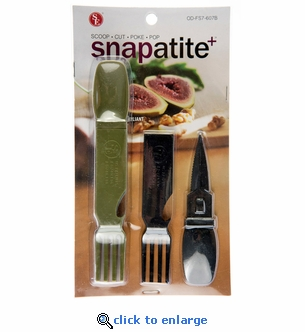 4 Piece Snapatite+ Utensils - BPA Free - 4-IN-1 Detachable  Fork, Spoon, Knife & Bottle Opener