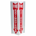 "4"" x 18"" 3D Angle Rigid Plastic Fire Extinguisher Arrow Sign"