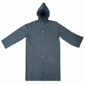 "46"" Lightweight Raincoat With Hood and 2 Pockets - Dark Blue - Fits MED to XL"