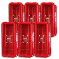 5 lb FireTech Fire Extinguisher Cabinet - Surface Mount - Pkg-6 - Red or White