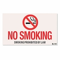 "8"" x 5"" No Smoking Sign - Smoking Prohibited by Law - Adhesive Vinyl"