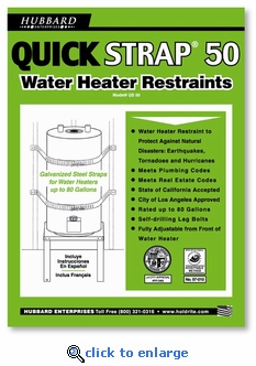 Quick Strap 50 - Water Heater Restraint - 80 Gallon