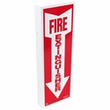 "90 Degree Flag Mount Fire Extinguisher Arrow Sign - Rigid Plastic - 4"" x 12"""