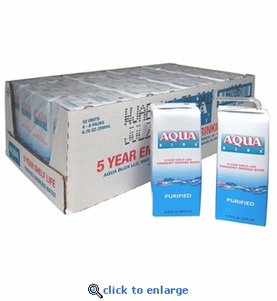 Aqua Blox Emergency Drinking Water 6.75 oz Case of 32