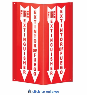 Bilingual Fire Extinguisher Arrow Sign - 3D Angle Rigid Plastic 4 x 18
