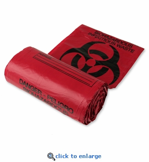 Biohazard Disposal Bags 24'' x 24'' - 50 Per Roll