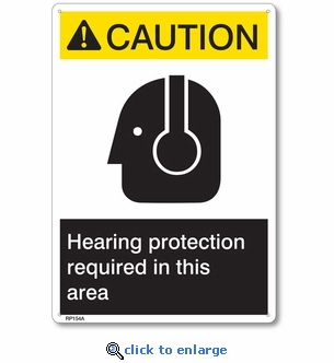 Caution Hearing Protection Required Rigid Plastic Sign - 7