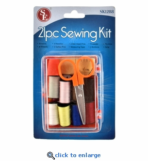 Compact Travel Pack Sewing Kit - 21 Piece