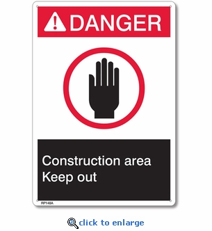 Danger Construction Area Rigid Plastic Sign - 7