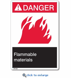Danger Flammable Materials Rigid Plastic Sign - 7