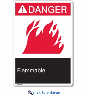 Danger Flammable Rigid Plastic Sign - 7