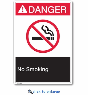 Danger No Smoking Rigid Plastic Sign - 7