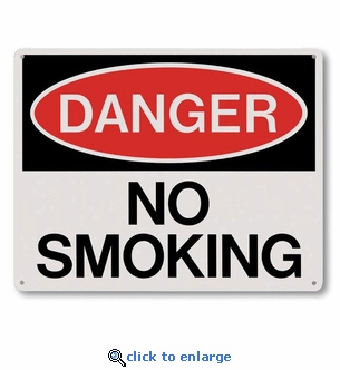 Danger No Smoking Sign - Silk Screened on Rigid Plastic  - 10