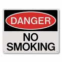 "Danger No Smoking Sign - Silk Screened on Rigid Plastic  - 10"" x 8"""