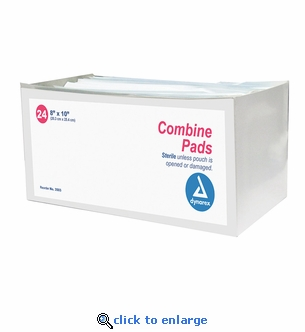 Dynarex 3503 Abdominal Combine Pads - 8'' x 10'' - 24 Pack