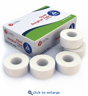 Dynarex 3562 Cloth Surgical Adhesive Tape 1'' x 10 yds. 12 Roll Pack