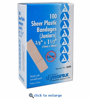Dynarex 3608 Sheer Bandages 3/8'' x 1.5'' Junior - 100 Pack