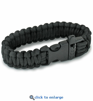 Emergency Black Paracord Bracelet & Whistle