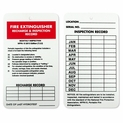 Fire Extinguisher 3-Year Monthly Inspection & Recharge Tag Plastic
