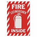 "Fire Extinguisher Inside Signs- Vinyl Self-Adhesive - 6"" x 9"""