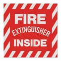 "Fire Extinguisher Inside - Vinyl Self-Adhesive Sticker- 4"" x 4"""