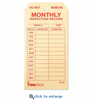 Fire Extinguisher Monthly Inspection Tags - 2 5/8