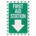 "First Aid Station Arrow Sign - Vinyl Self-Adhesive - 8"" x 12"""