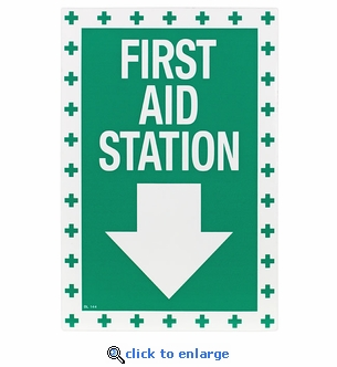 First Aid Station Arrow Sign - Vinyl Self-Adhesive - 8
