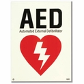 "Glow-in-the-Dark AED Adhesive Vinyl Label - 6"" x 8"""