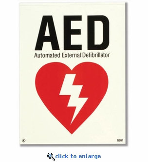 Glow-in-the-Dark AED Adhesive Vinyl Label - 6