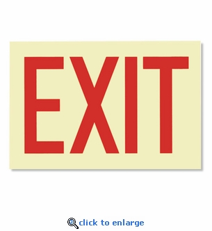 Glow-in-the-Dark Exit Sign - Adhesive - 12
