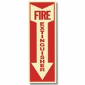 "Glow In The Dark Fire Extinguisher Arrow Sign - 4"" x 12"" - Vinyl Self-Adhesive"