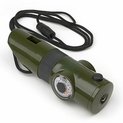 Green - 7-In-1 Survival Whistle with LED Flashlight and Compass