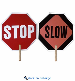 Set of 2 Hand Held Stop Signs / Slow Sign - 2 Sided - 18