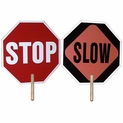 Set of 2 Hand Held Stop Signs / Slow Sign - 2 Sided - 18""