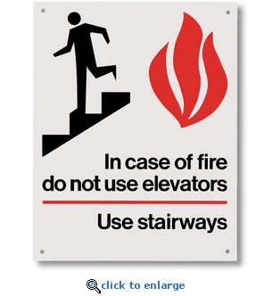 In Case of Fire Use Stairway Sign - Rigid Plastic  - 5.5