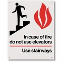 "In Case of Fire Use Stairway Sign - Rigid Plastic  - 5.5"" x 7"""