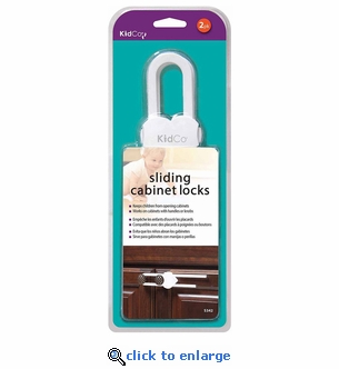 Kidco Sliding Cabinet Lock S342 - 2-Pack - White