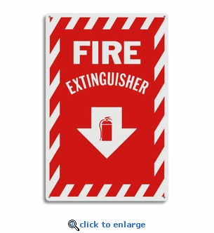 Metal Fire Extinguisher Arrow Sign - 8