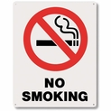"No Smoking Sign - Silk Screened on Rigid Plastic  - 8"" x 10"""