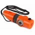 Orange 7-In-1 Survival Whistle with LED Flashlight and Compass