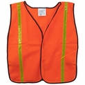 Orange Mesh Safety Vest with Reflective Stripes and Velcro Closure