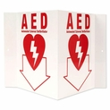 "3D Stand-Out AED Sign - Rigid Plastic - Automated External Defibrillator Location - 5"" x 6"""