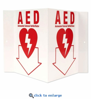 3D Stand-Out AED Sign - Rigid Plastic - Automated External Defibrillator Location - 5